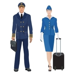 Pilot and stewardess in uniform isolated vector