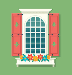 retro window with red wooden shutters and curtains vector image vector image