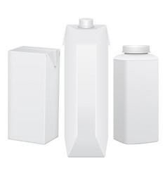 set of cardboard package for beverage juice milk vector image vector image