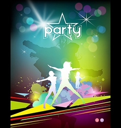 Silhouette woman colorful party design vector image vector image