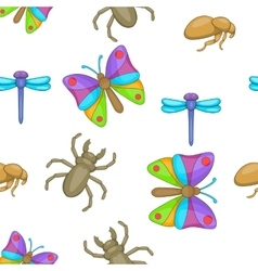 Varieties of insects pattern cartoon style vector