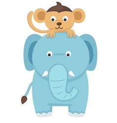 elephant with monkey vector image