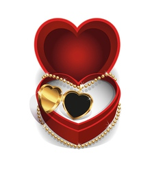 Gold heart necklet vector
