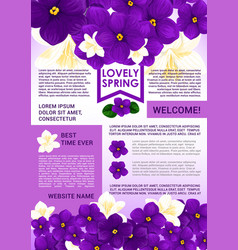 welcome spring poster template with floral border vector image