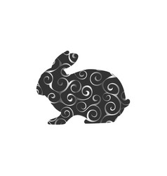 Bunny rodent color silhouette animal vector