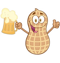 Peanut holding a beer vector