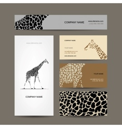 Business cards collection giraffe pattern vector