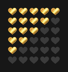 Golden rating hearts panel set vector