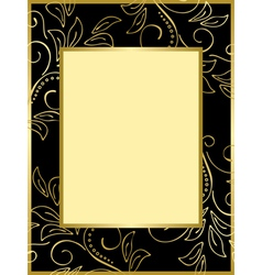 black and gold card with floral background vector image