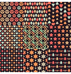 Big set of nine brown retro seamless patterns vector