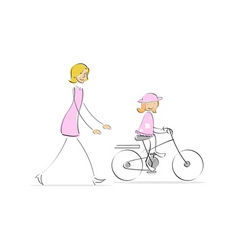 Mother running behind girl cycling vector
