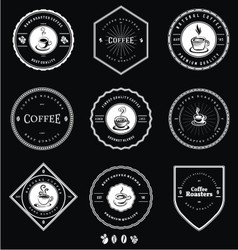 Vintage white coffee badges vector
