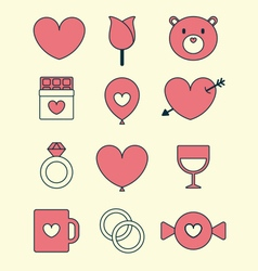 Valentines day icon set vector