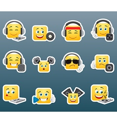 Dj smile stickers set vector