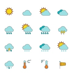 Weather outline icons flat vector