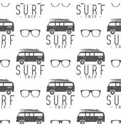 Surfing seamless pattern with surfing glass vector