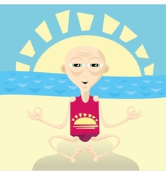 Abstract of yoga man sitting on the beach vector