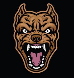Aggressive pitbull dog head vector