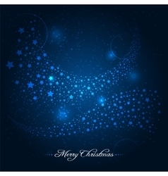 Blue christmas background with star trail vector image