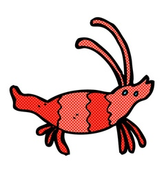 Comic cartoon shrimp vector
