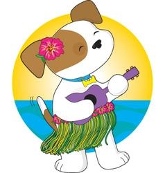 cute puppy hawaii vector image