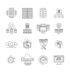 Datacenter linear icons set vector