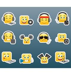 dj smile stickers set vector image