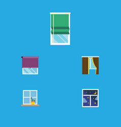 Flat icon frame set of glass glazing balcony and vector