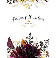 Floral design card burgundy dahlia flower yellow vector
