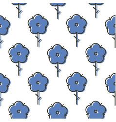 Geometric blue scandinavian style flower seamless vector