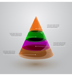 Glass pyramid infographic vector