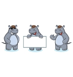 Gray Hippo Mascot happy vector image