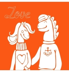Hand drawn elegant card with cute horse couple vector