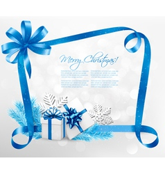 Holiday background with blue gift bow and gift vector image
