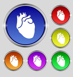 Human heart icon sign Round symbol on bright vector image