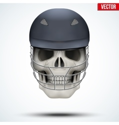 Human skull with cricket helmet vector