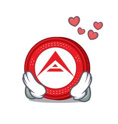 In love ark coin mascot cartoon vector