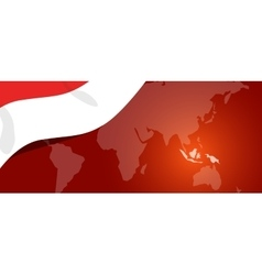 Indonesia map flag world red white location vector