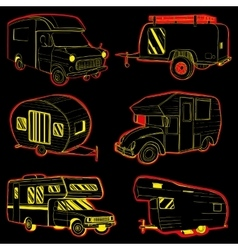 isolated Hand Drawn doodle Camper vector image