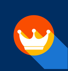 King crown sign white icon on tangelo vector