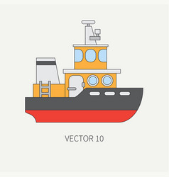 Line flat color icon comercial tugboat vector