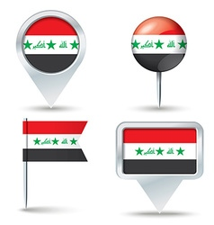 Map pins with flag of iraq vector
