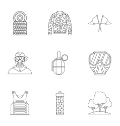 Outfit paintball icons set outline style vector