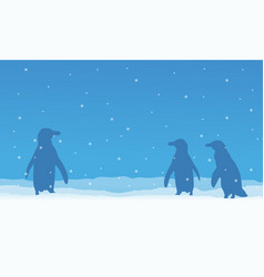 penguin on snow beauty scenery vector image vector image