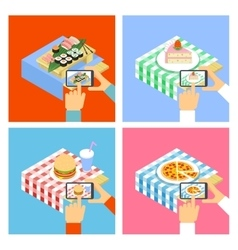 Photo of food with smartphone vector