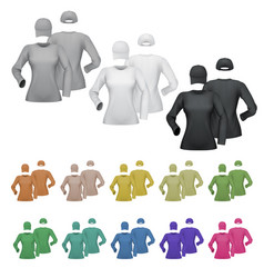 plain female long sleeve shirt and cap template vector image