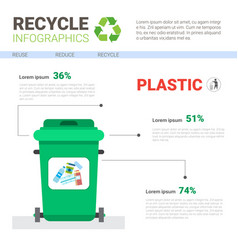 Rubbish container for plastic waste infographic vector