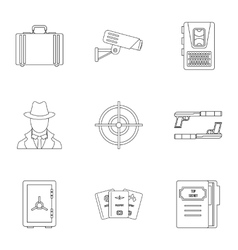 Scout icons set outline style vector