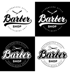 Set of vintage barber shop logos with hand written vector image