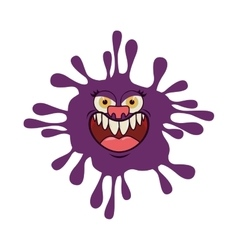 Silhouette purple with bacteria cartoon shape vector
